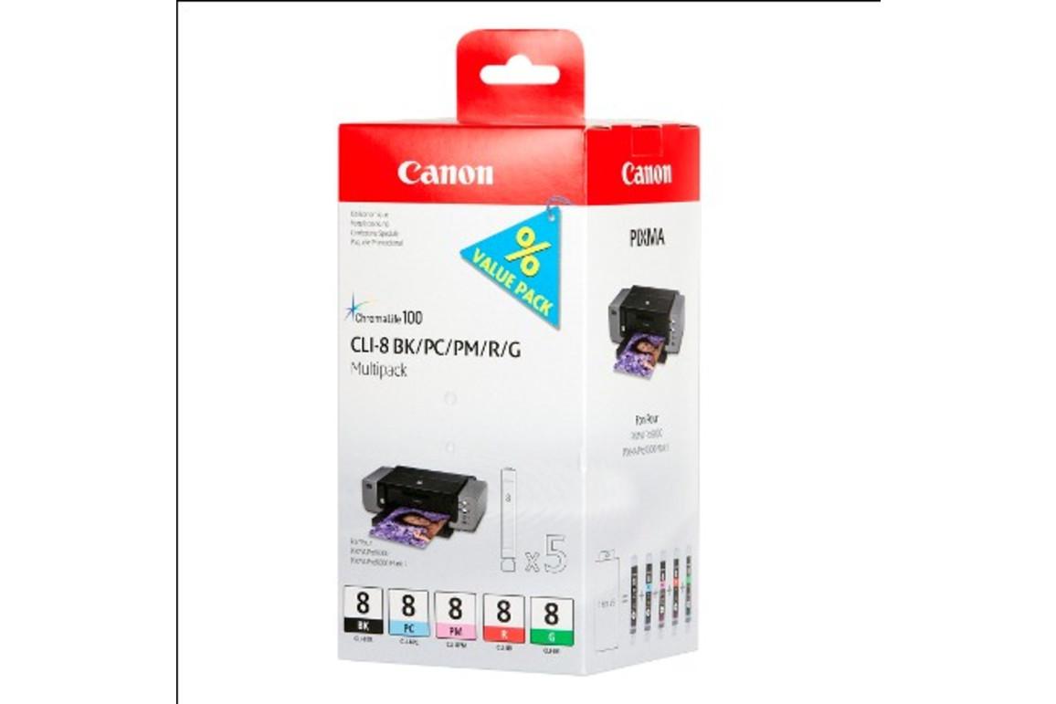 Canon CLI8 Multi Pack BK/PC/PM/R/G je 13ml 1x5, Art.-Nr. 0620B027 - Paterno Shop