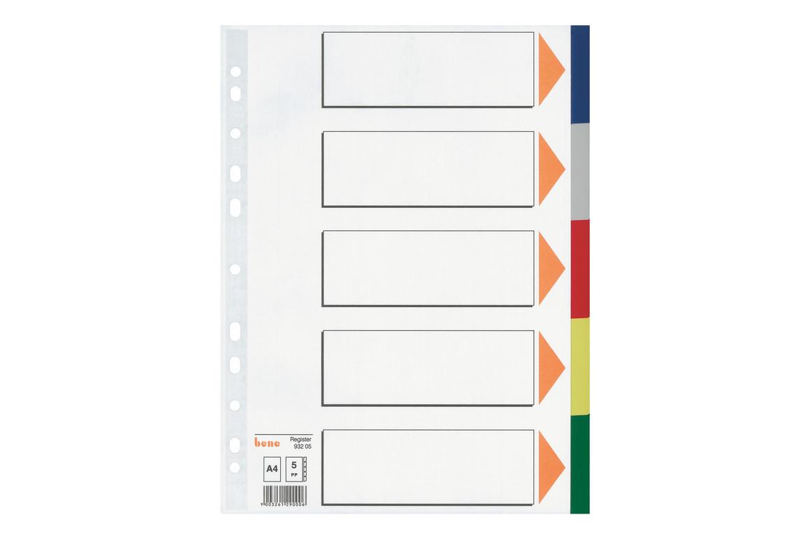 Farbregister Bene A4 blanko farbig 5-teilig, Art.-Nr. 093205 - Paterno Shop