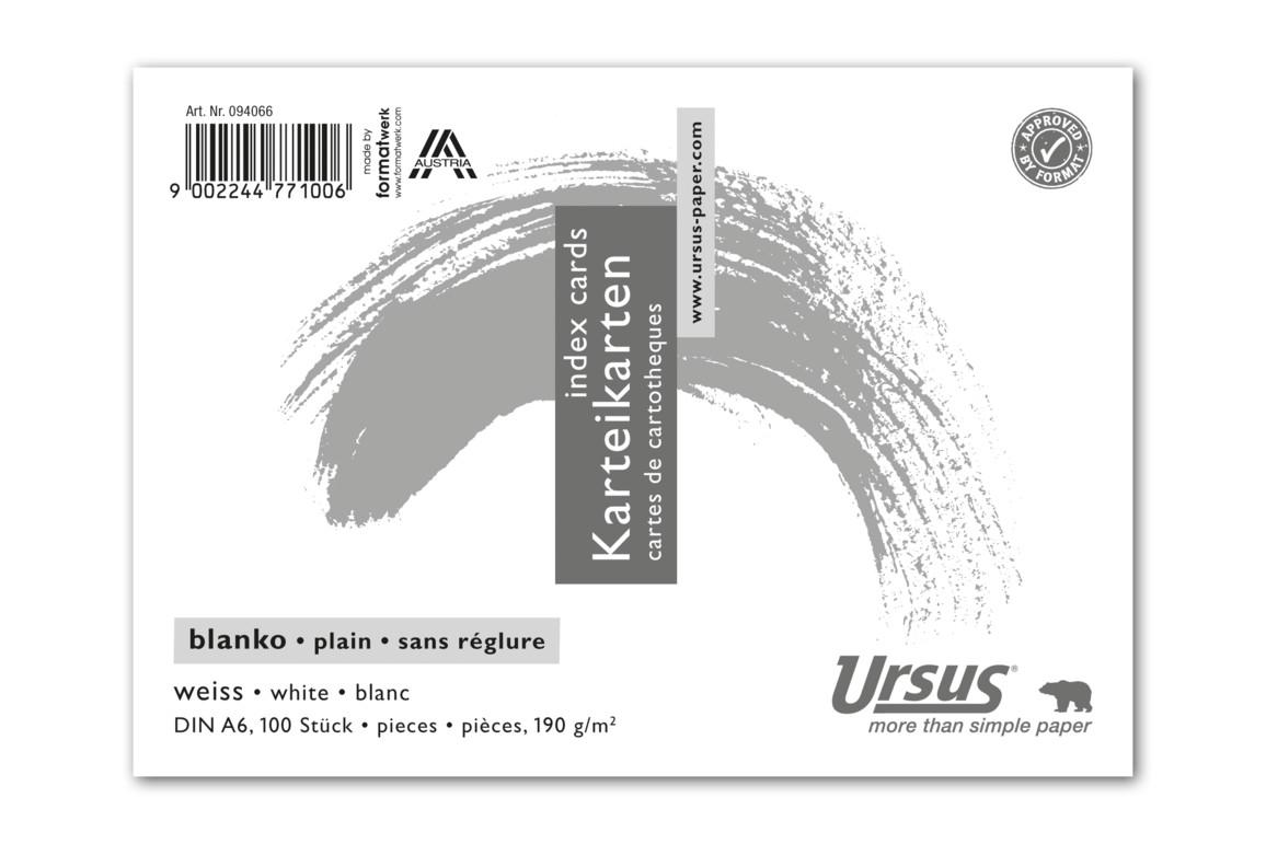 Karteikarten Ursus A6 quer glatt weiss, Art.-Nr. 094066 - Paterno Shop