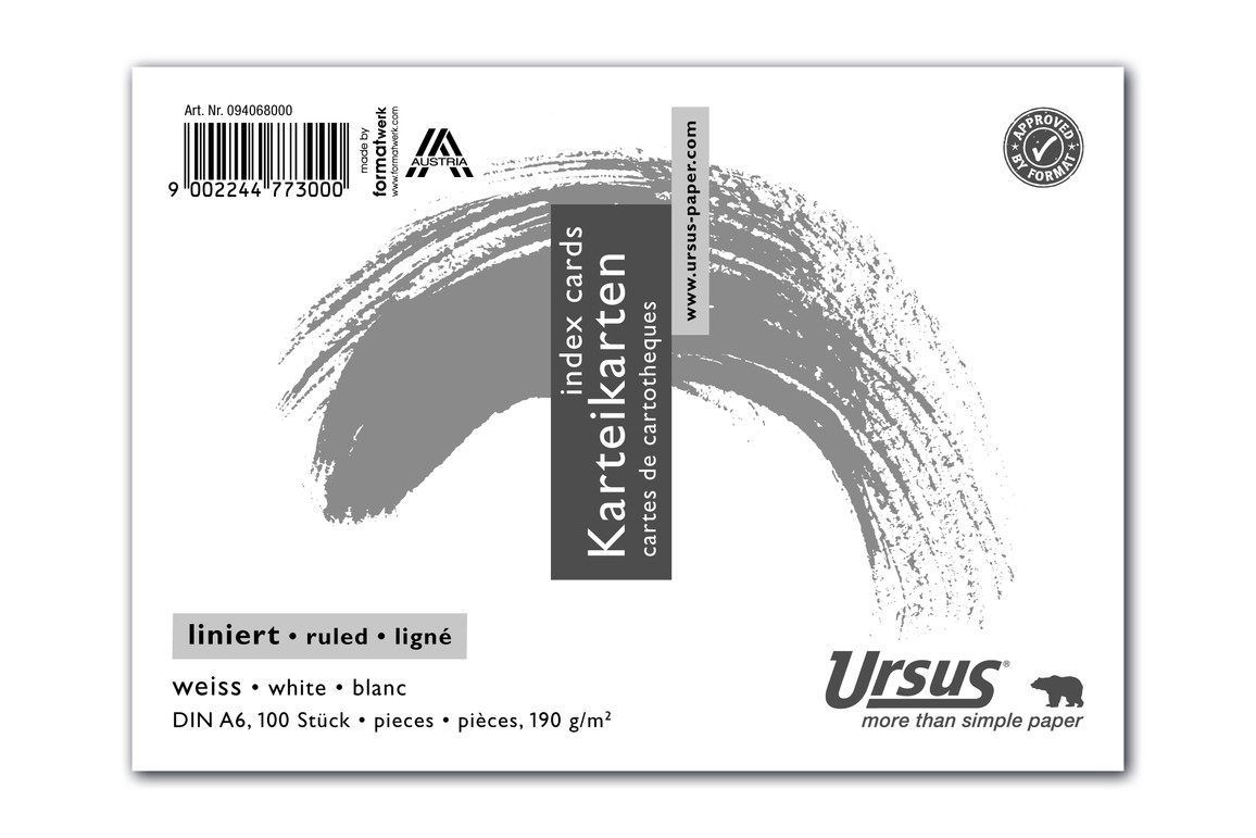 Karteikarten liniert weiss A6 quer 100 Blatt 190g/qm, Art.-Nr. 094068000 - Paterno Shop