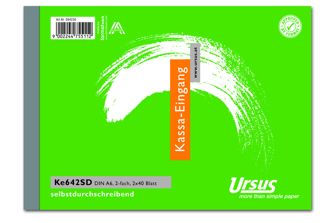 Kassaeingangsbuch KE642SD A6 quer 2x40 Blatt, Art.-Nr. 094230 - Paterno Shop
