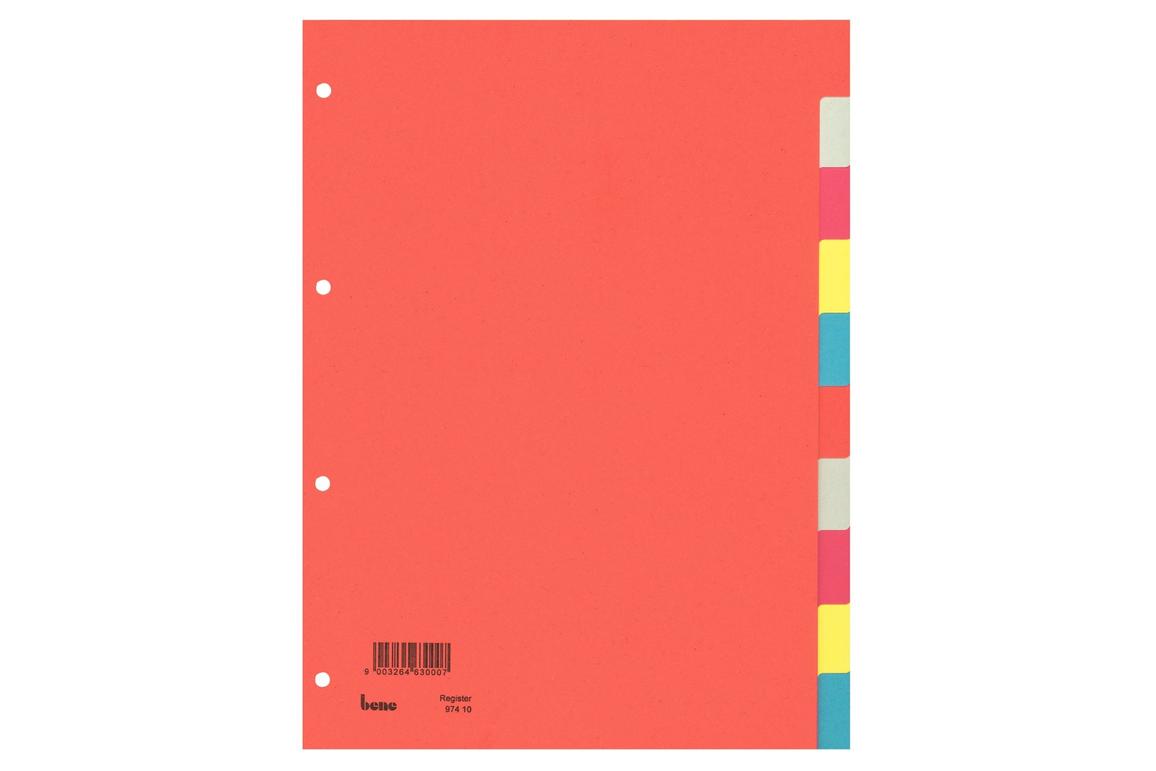 Farbregister Bene A4 10-teilig, Art.-Nr. 097410 - Paterno Shop