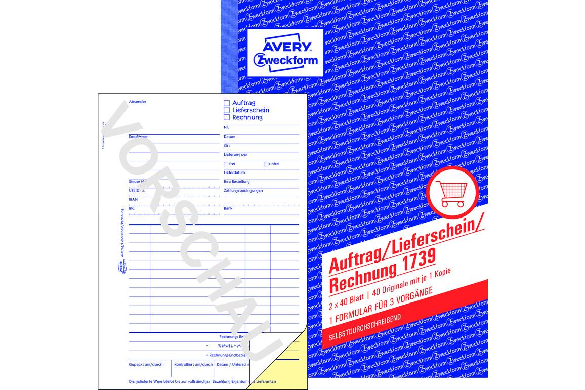Auftrag/Lieferschein/Rechnung, ZWF A5, Art.-Nr. 1739ZWF - Paterno Shop