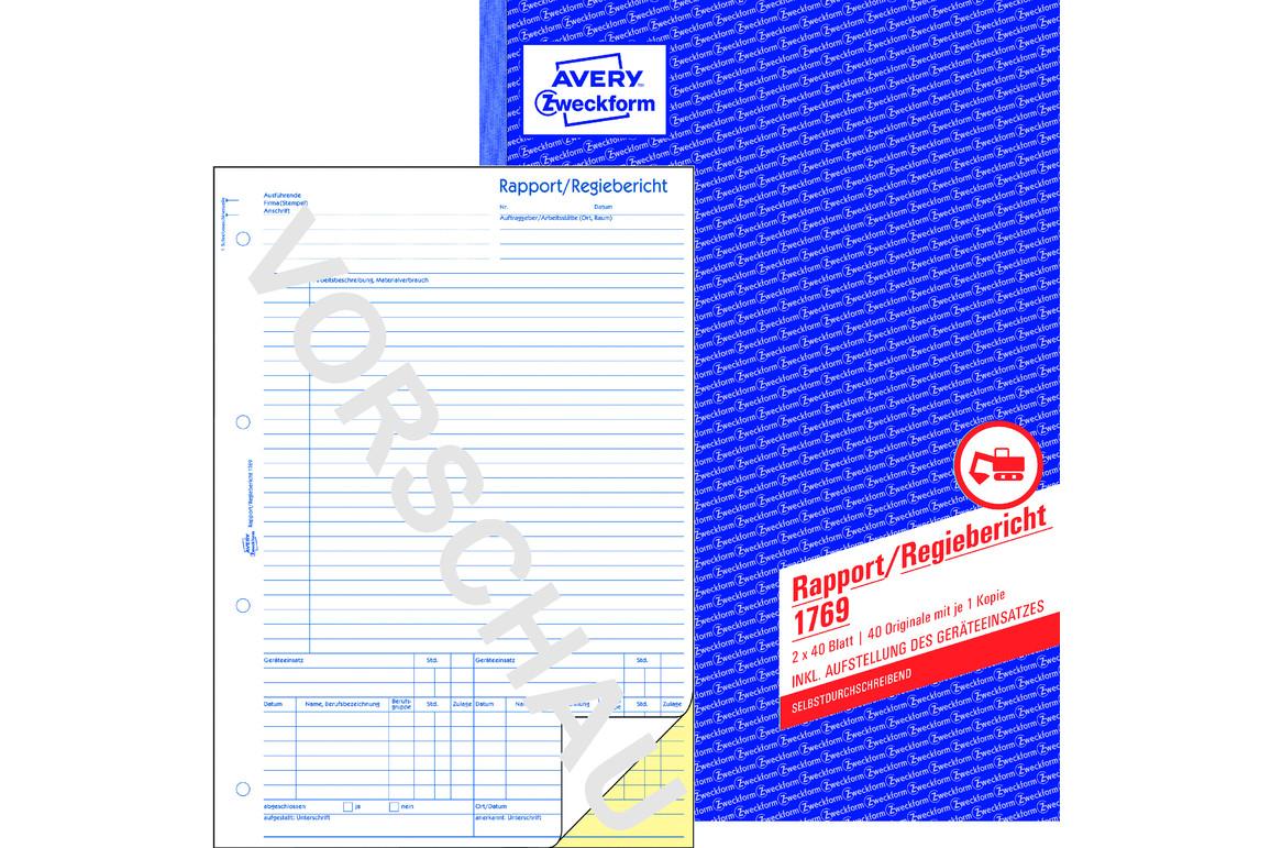 Rapport und Regiebericht ZWF, A4 SD, Art.-Nr. 1769ZWF - Paterno Shop