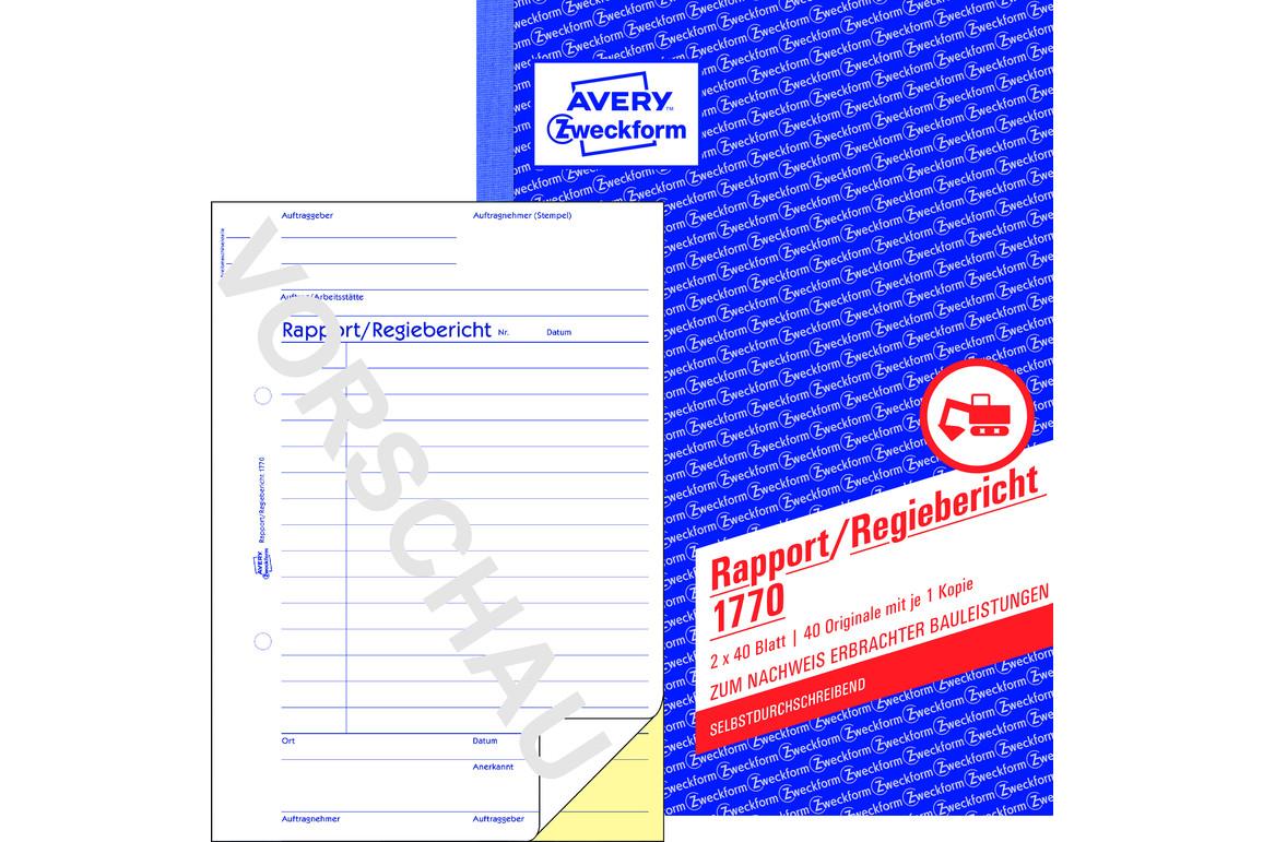 Rapport und Regiebericht ZWF,  A5 SD, Art.-Nr. 1770ZWF - Paterno Shop