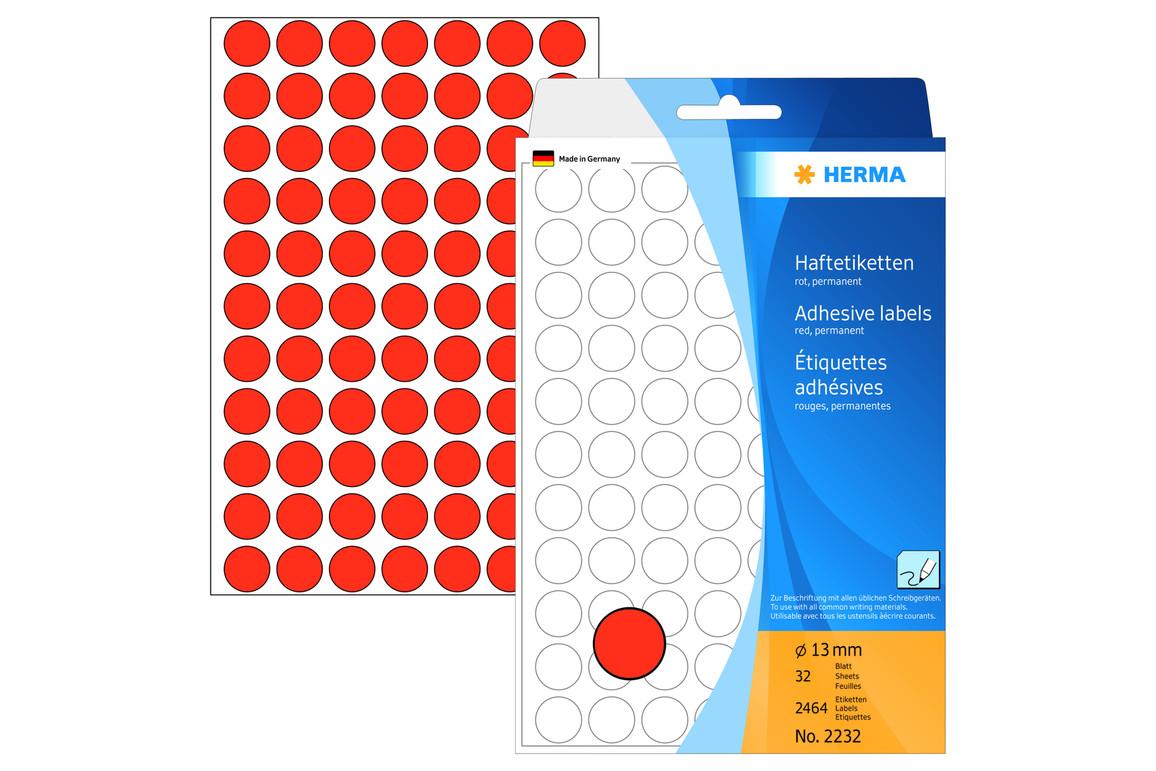 Markierungspunkte Herma 13 mm rot, Art.-Nr. 2232ROT - Paterno Shop