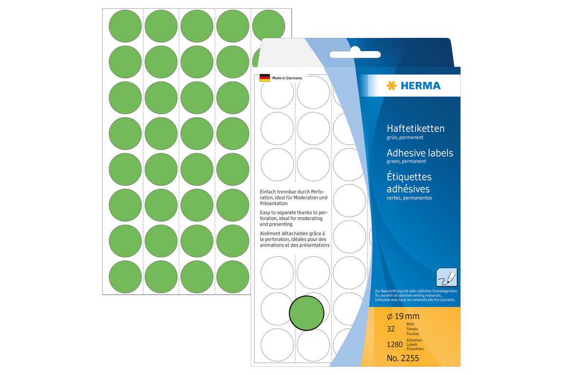 Markierungspunkte Herma 19 mm grün, Art.-Nr. 2255E - Paterno Shop