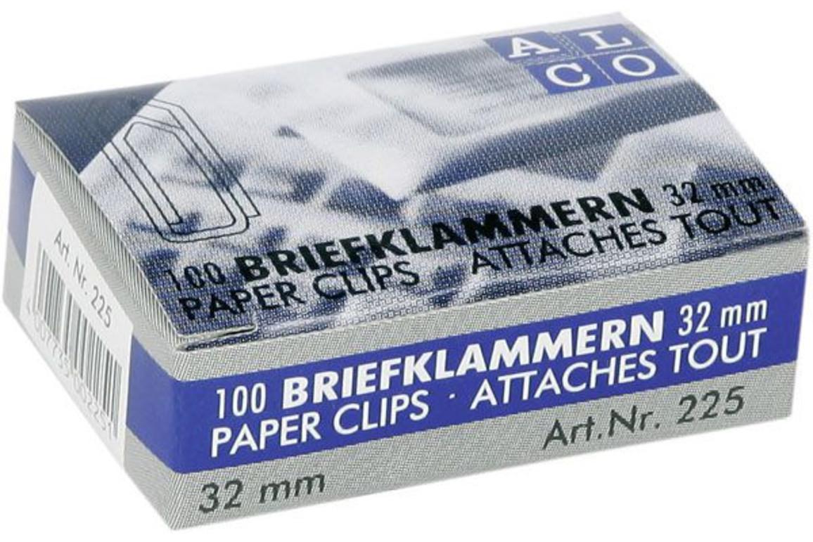 Büroklammern Alco 32mm vernickelt, Art.-Nr. 225ALCO - Paterno Shop