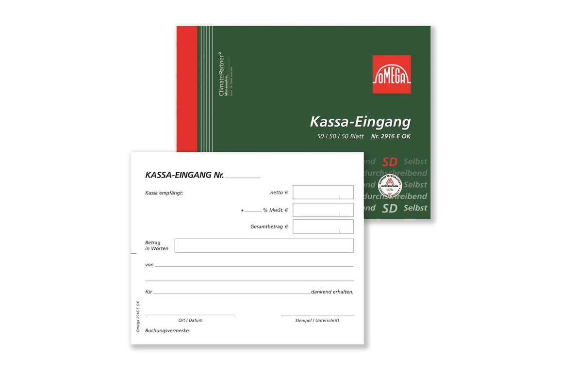 Kassaeingangsbuch Omega A6 quer 3x50 Blatt, Art.-Nr. 2916EOK - Paterno Shop