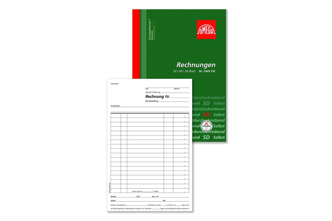 Rechnungsbuch Omega A5 hoch 3x50 Blatt, Art.-Nr. 2949OK - Paterno Shop