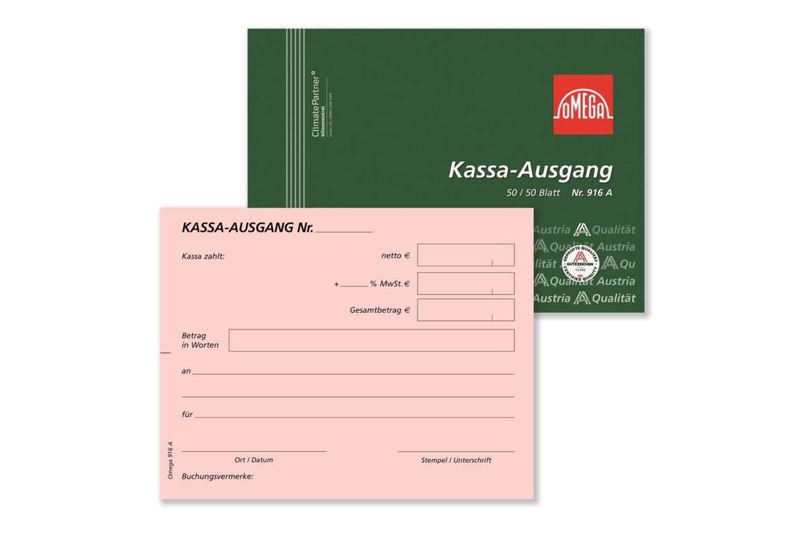 Kassaausgangsbuch Omega A6 quer 2x50 Blatt, Art.-Nr. 916A - Paterno Shop
