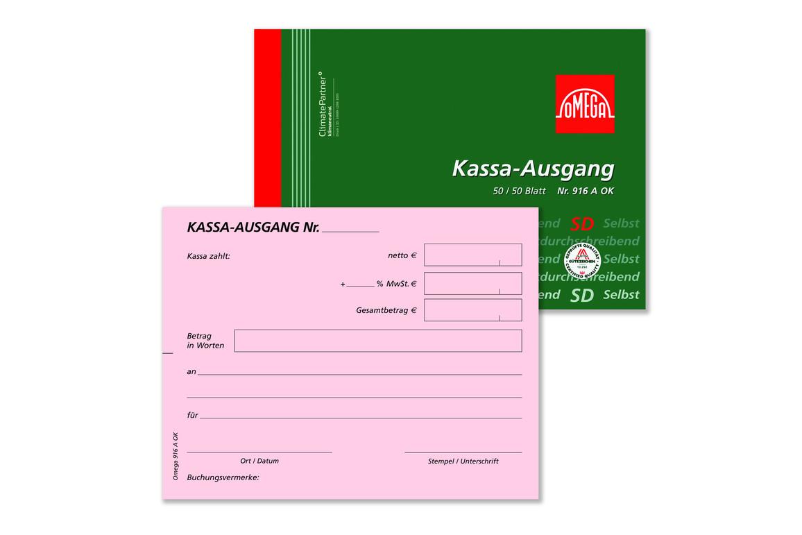 Kassaausgangsbuch Omega A6 quer 2x50 Blatt, Art.-Nr. 916AOK - Paterno Shop