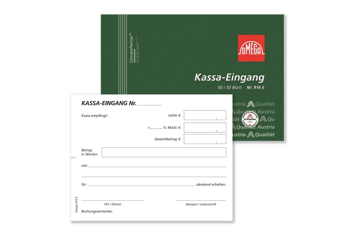 Kassaeingangsbuch Omega A6 quer 2x50 Blatt, Art.-Nr. 916E - Paterno Shop