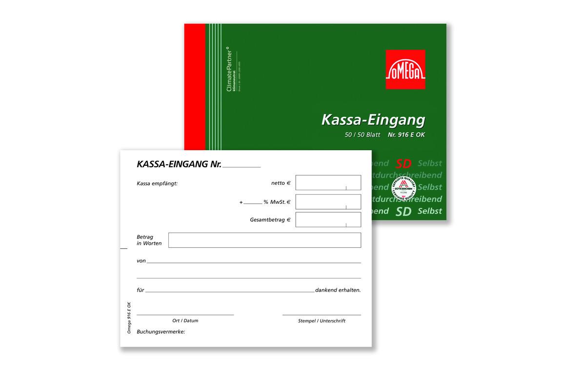 Kassaeingangsbuch Omega A6 quer 2x50 Blatt, Art.-Nr. 916EOK - Paterno Shop