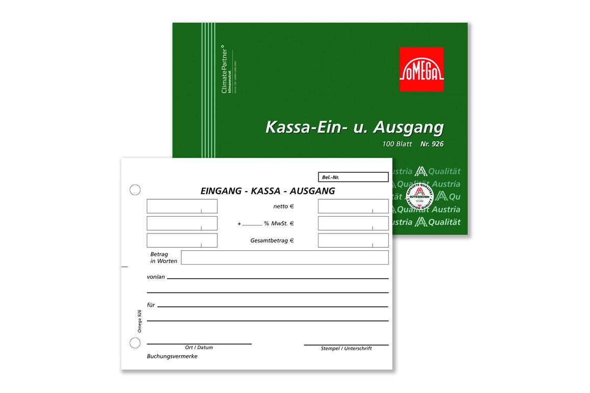 Kassa Ein und Ausgang Omega A 6 quer 100 Blatt, Art.-Nr. 926 - Paterno Shop