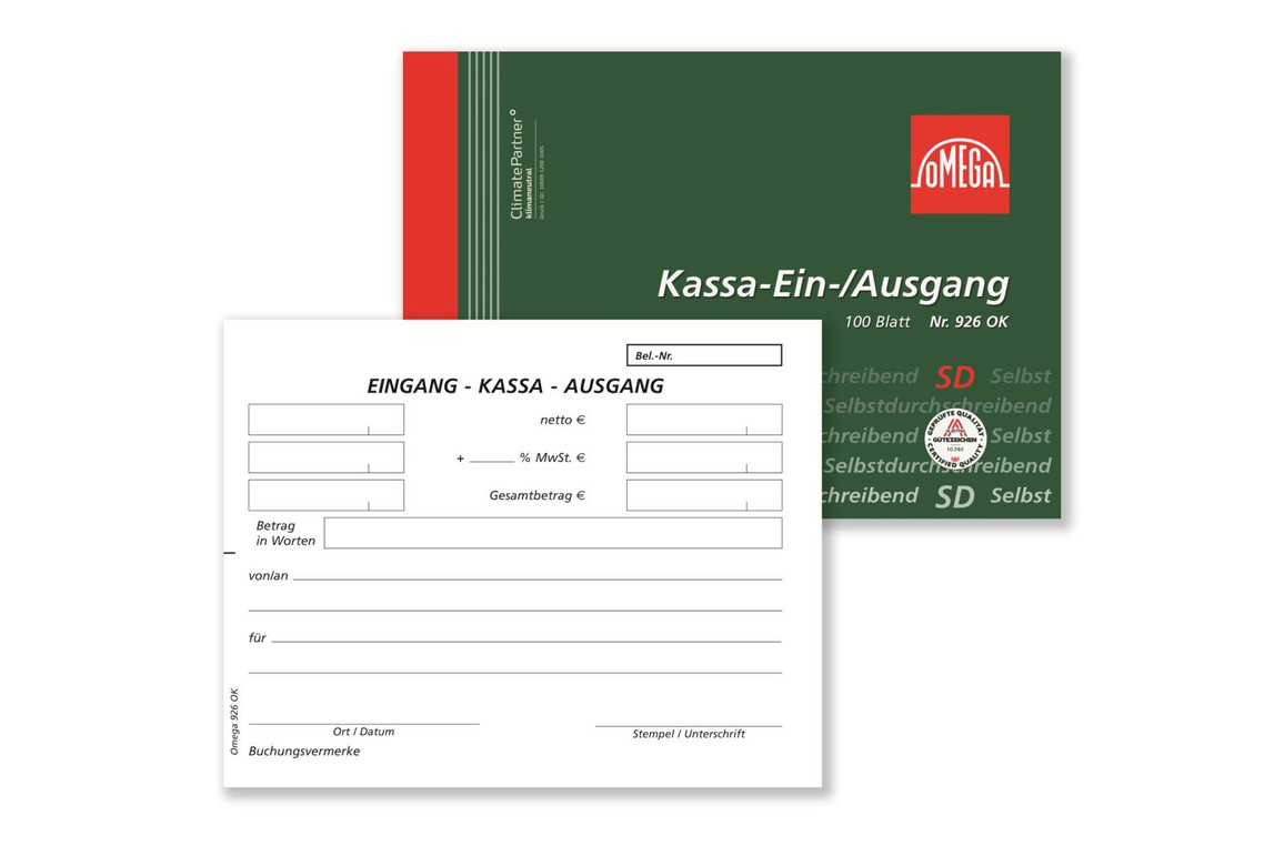 Kassa Ein und Ausgang Omega A 6 quer 100 Blatt, Art.-Nr. 926OK - Paterno Shop