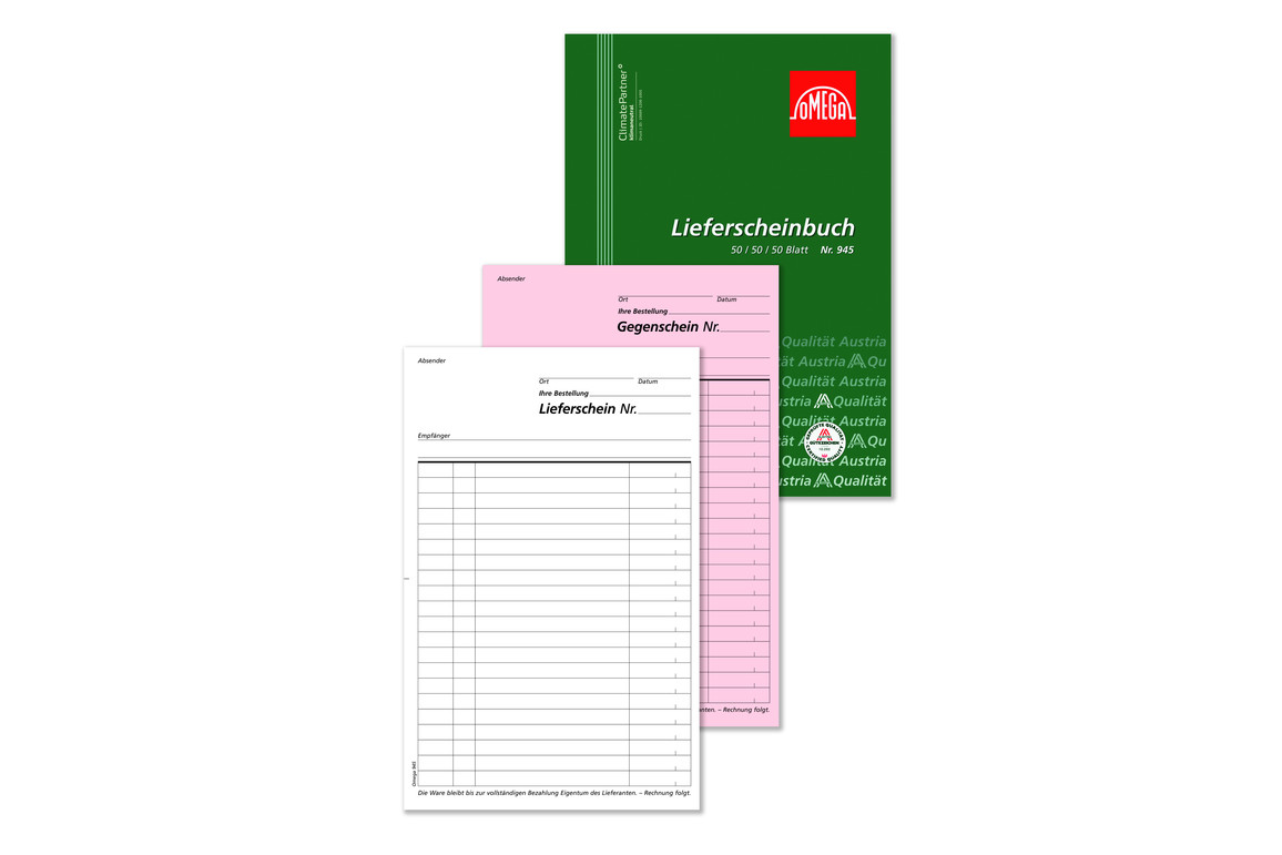 Lieferscheinbuch Omega A5 hoch 3x50 Blatt, Art.-Nr. 945 - Paterno Shop