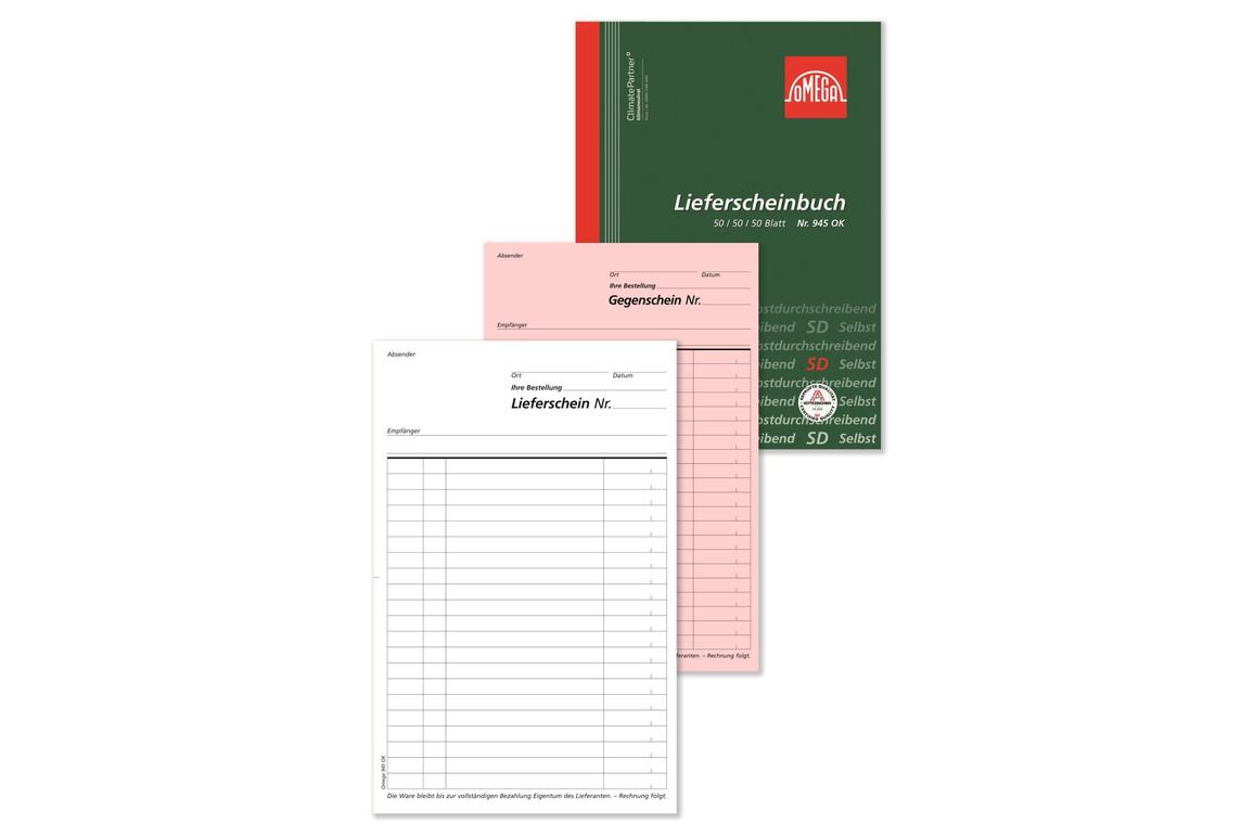 Lieferscheinbuch Omega A5 hoch 3x50 Blatt, Art.-Nr. 945OK - Paterno Shop
