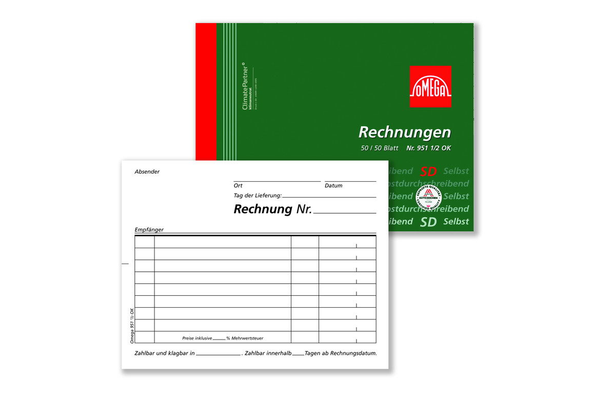Rechnungsbuch Omega A6 quer 2x50 Blatt, Art.-Nr. 951 1-2OK - Paterno Shop