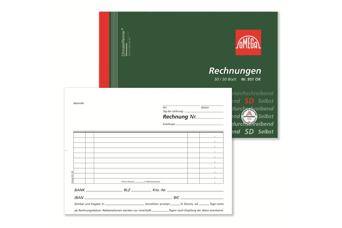 Rechnungsbuch Omega A5 quer 2x50 Blatt, Art.-Nr. 951OK - Paterno Shop
