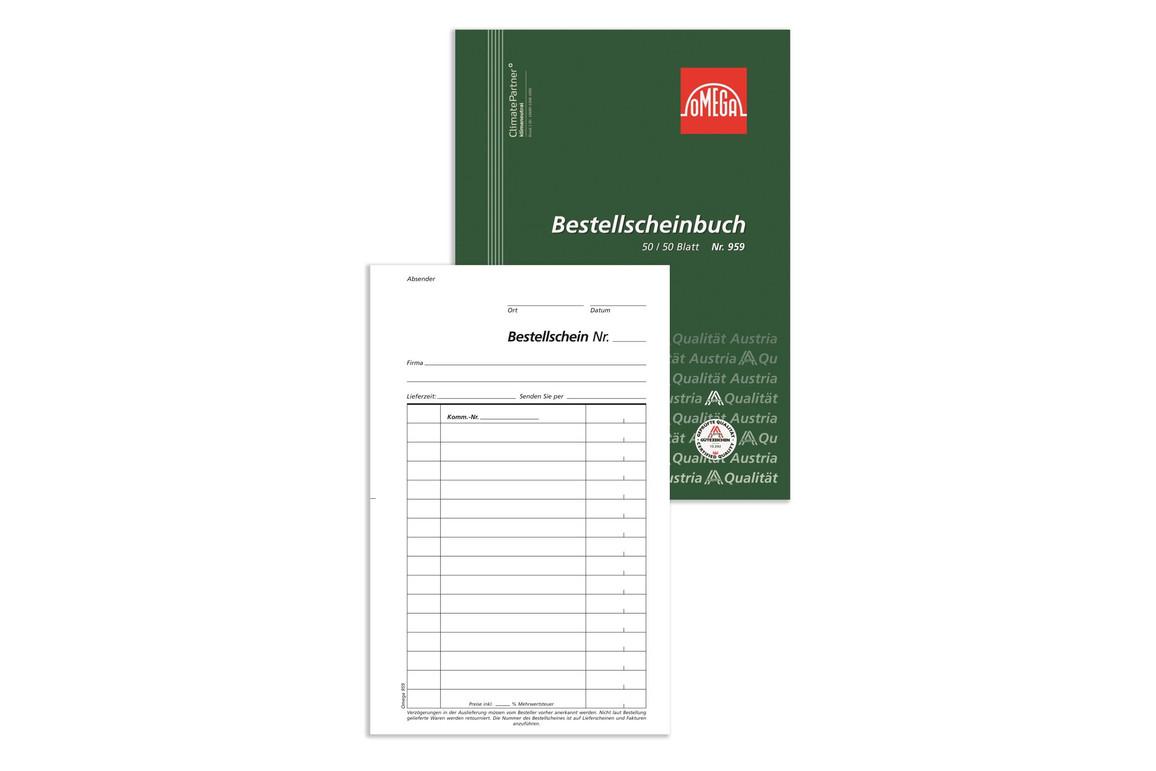 Bestellscheinbuch Omega A5 hoch 2x50 Blatt, Art.-Nr. 959 - Paterno Shop