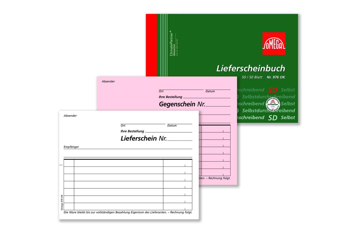 Lieferscheinbuch Omega A6 quer 2x50 Blatt, Art.-Nr. 976OK - Paterno Shop