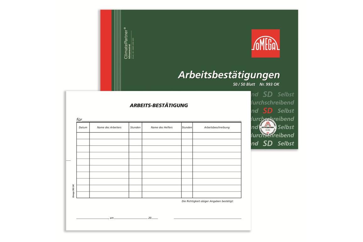 Arbeitsbestätigung Omega A5 quer 2x50 Blatt, Art.-Nr. 993OK - Paterno Shop