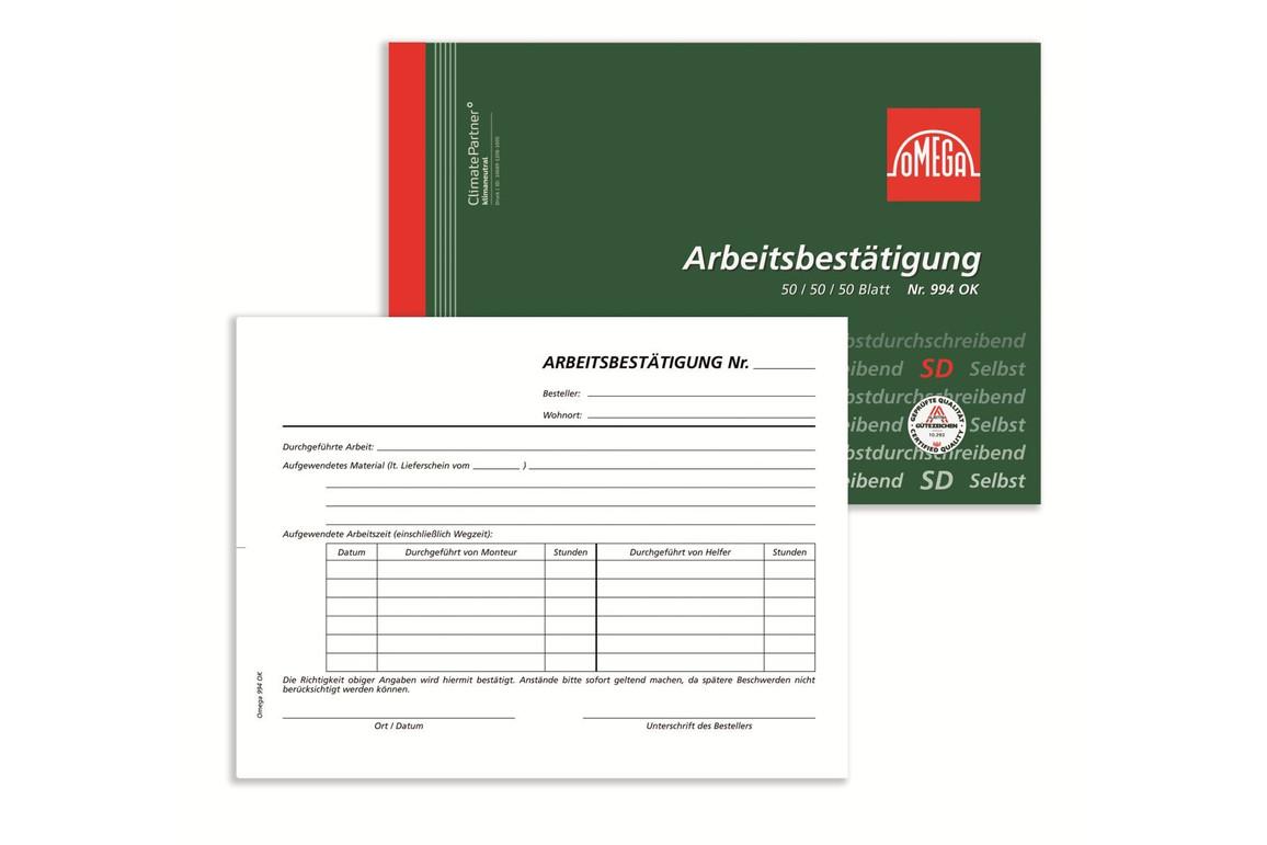 Arbeitsbestätigung Omega A5 quer 3x50 Blatt, Art.-Nr. 994OK - Paterno Shop