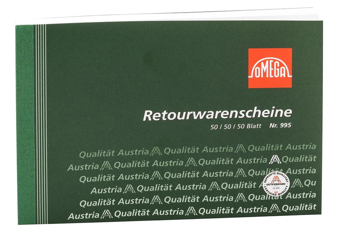 Retourwarenscheinbuch Omega A5 quer 3x50 Blatt, Art.-Nr. 995 - Paterno Shop