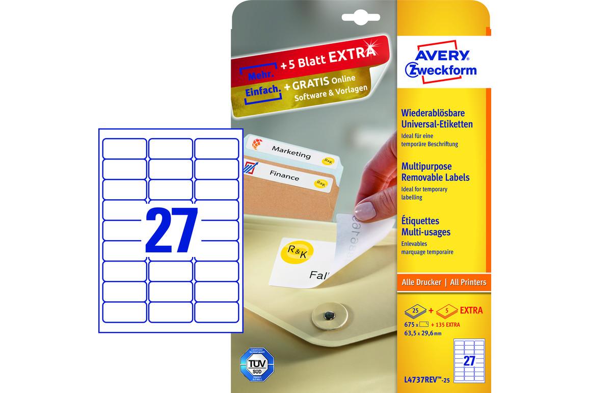 Universaletiketten ZWF 63,5 x 29,6 mm wiederablösbar, Art.-Nr. L4737REV-25 - Paterno Shop