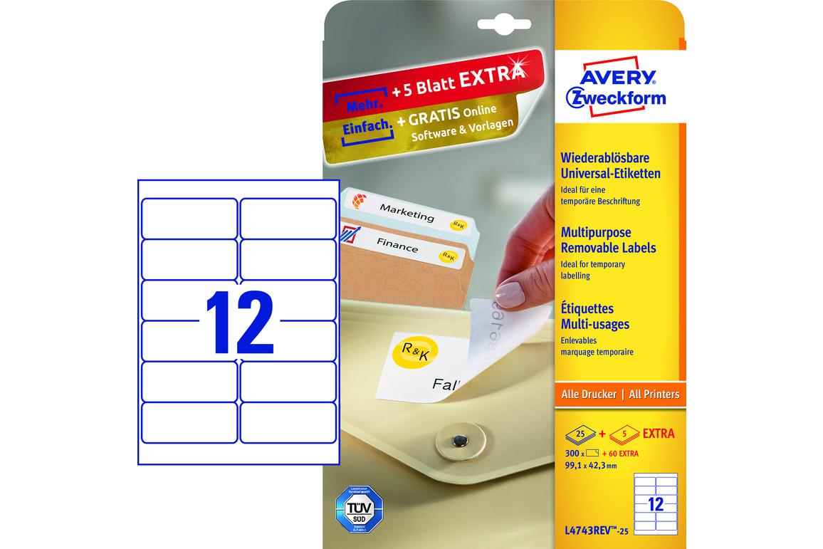 Etiketten Universal 99,1 x 42,3 mm wiederablösbar, Art.-Nr. L4743REV-25 - Paterno Shop