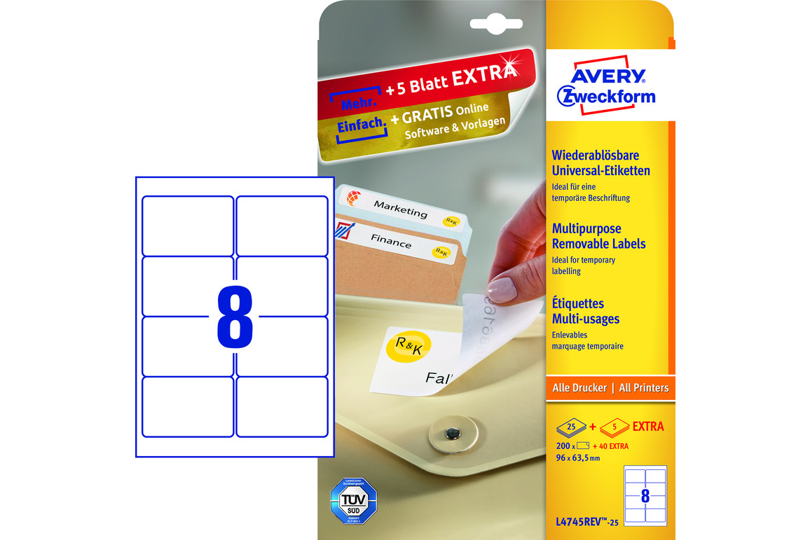 Etiketten Universal 96 x 63,5 mm wiederablösbar, Art.-Nr. L4745REV-25 - Paterno Shop