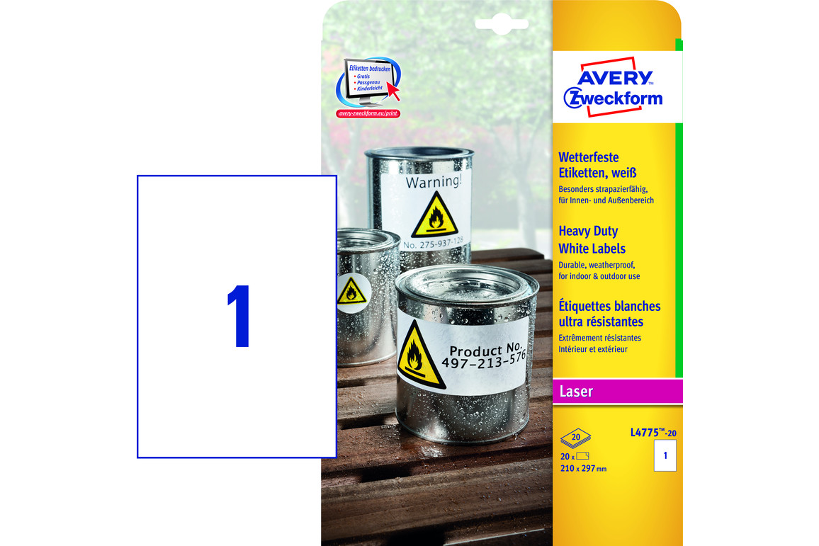 Etiketten ZWF Wetterfest 210 x 297 mm, Art.-Nr. L4775-20 - Paterno Shop