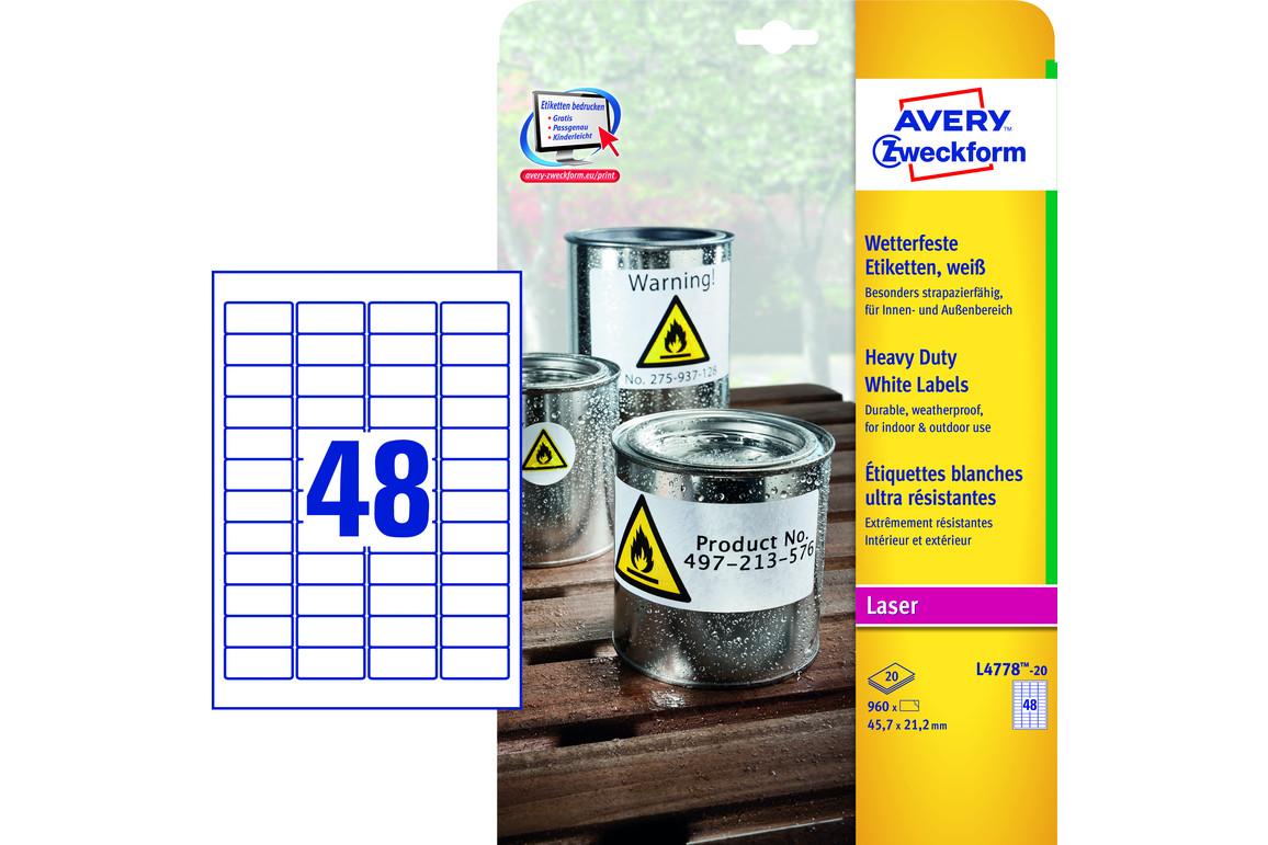 Etiketten ZWF Wetterfest 45,7 x 21,2 mm, Art.-Nr. L4778-20 - Paterno Shop