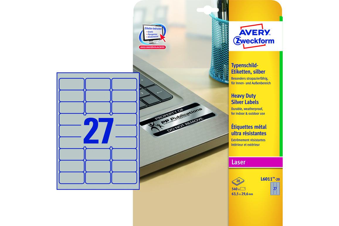 Etiketten ZWF Typenschild 63,5 x 29,6 mm silber, Art.-Nr. L6011-20 - Paterno Shop