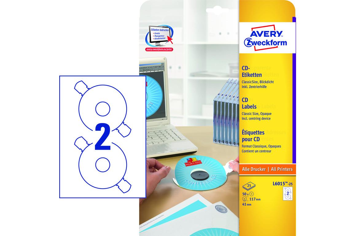 Etiketten ZWF CD ETIK DM117mm A4, Art.-Nr. L6015-25 - Paterno Shop