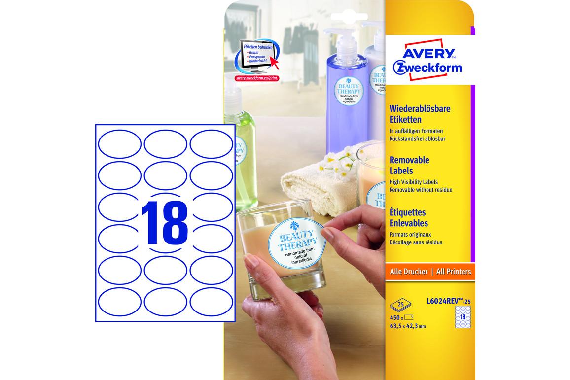 Etiketten Universal 63,5x42,3 mm oval, Art.-Nr. L6024REV-25 - Paterno Shop