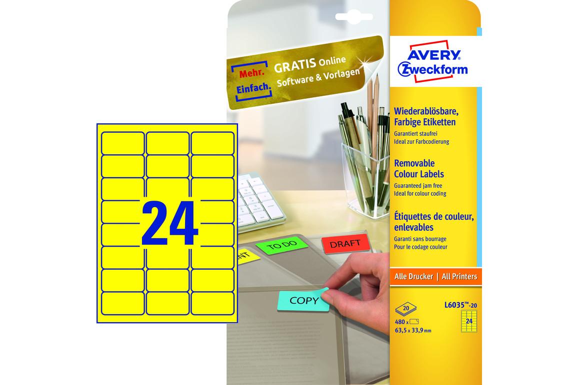 Etiketten ZWF, 63,5 x 33,9 mm, gelb, Art.-Nr. L6035-20 - Paterno Shop