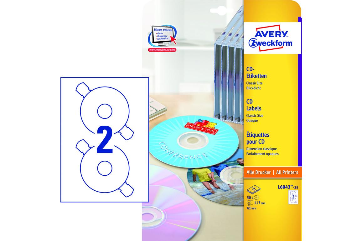 Etiketten ZWF CD rund 117 mm, Art.-Nr. L6043-25 - Paterno Shop