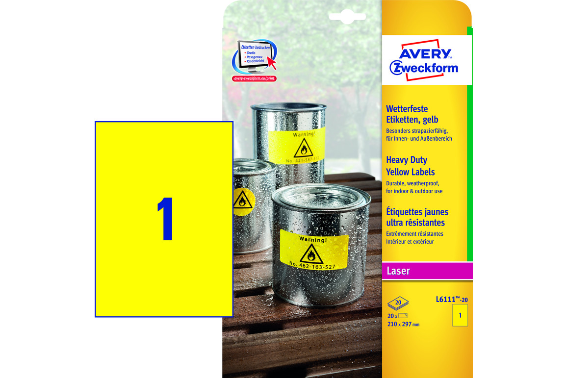 Etiketten ZWF 210x297 mm Wetterfest gelb, Art.-Nr. L6111-20 - Paterno Shop