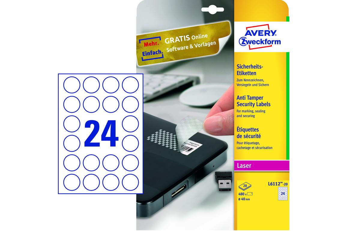 Sicherheitsetiketten ZWF rund 40mm, Art.-Nr. L6112-20 - Paterno Shop