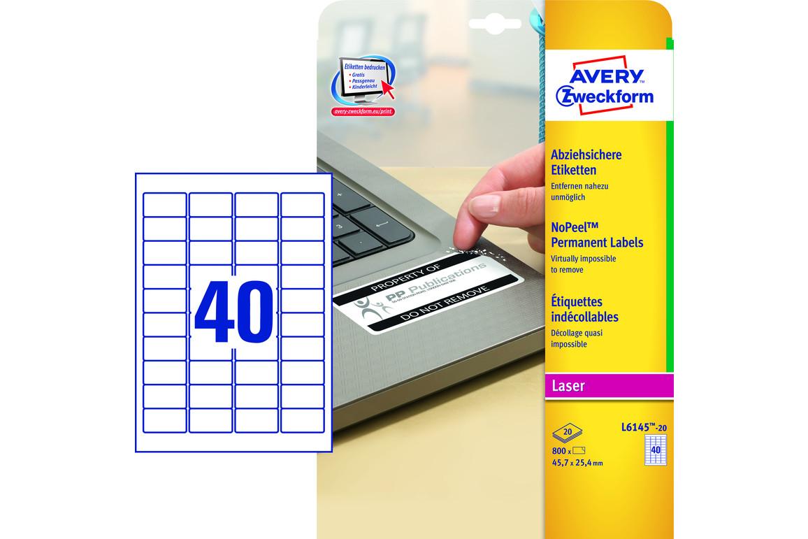 Sicherheitsetiketten ZWF 45,7 x 25,4 mm, Art.-Nr. L6145-20 - Paterno Shop