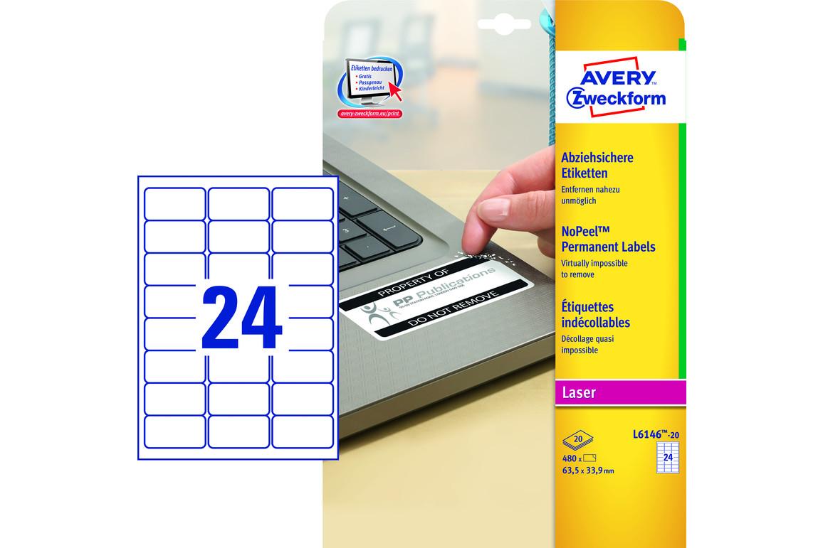 Sicherheitsetiketten ZWF 63,5 x 33,9 mm, Art.-Nr. L6146-20 - Paterno Shop