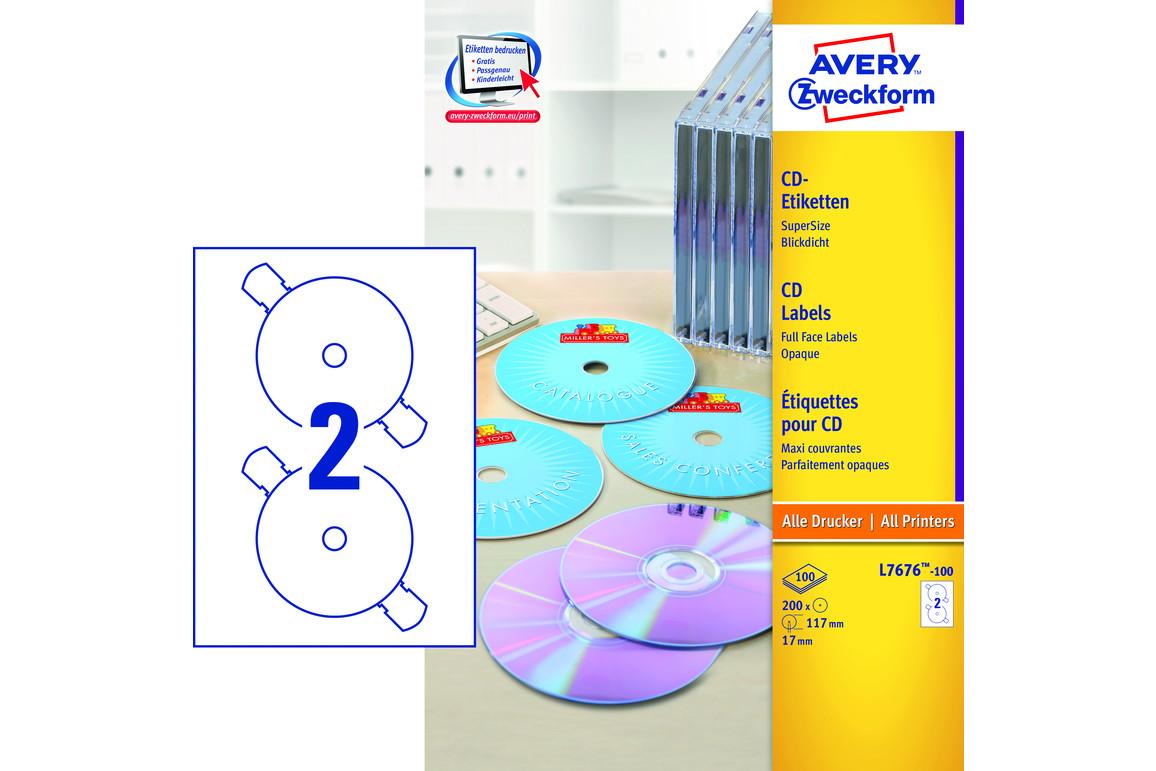 Etiketten ZWF CD-DVD rund 117 mm, Art.-Nr. L7676-100 - Paterno Shop