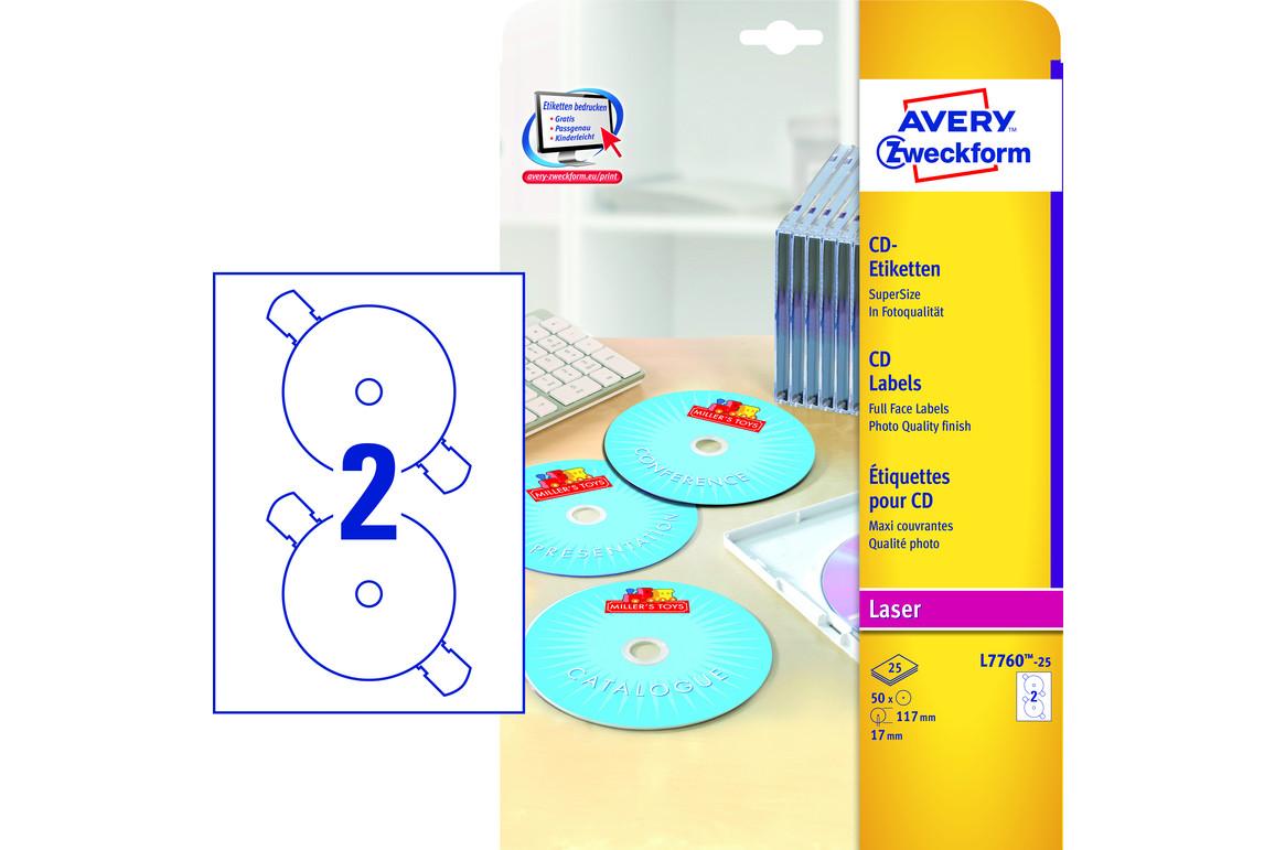 Etiketten ZWF CD-DVD rund 117  mm, Art.-Nr. L7760-25 - Paterno Shop