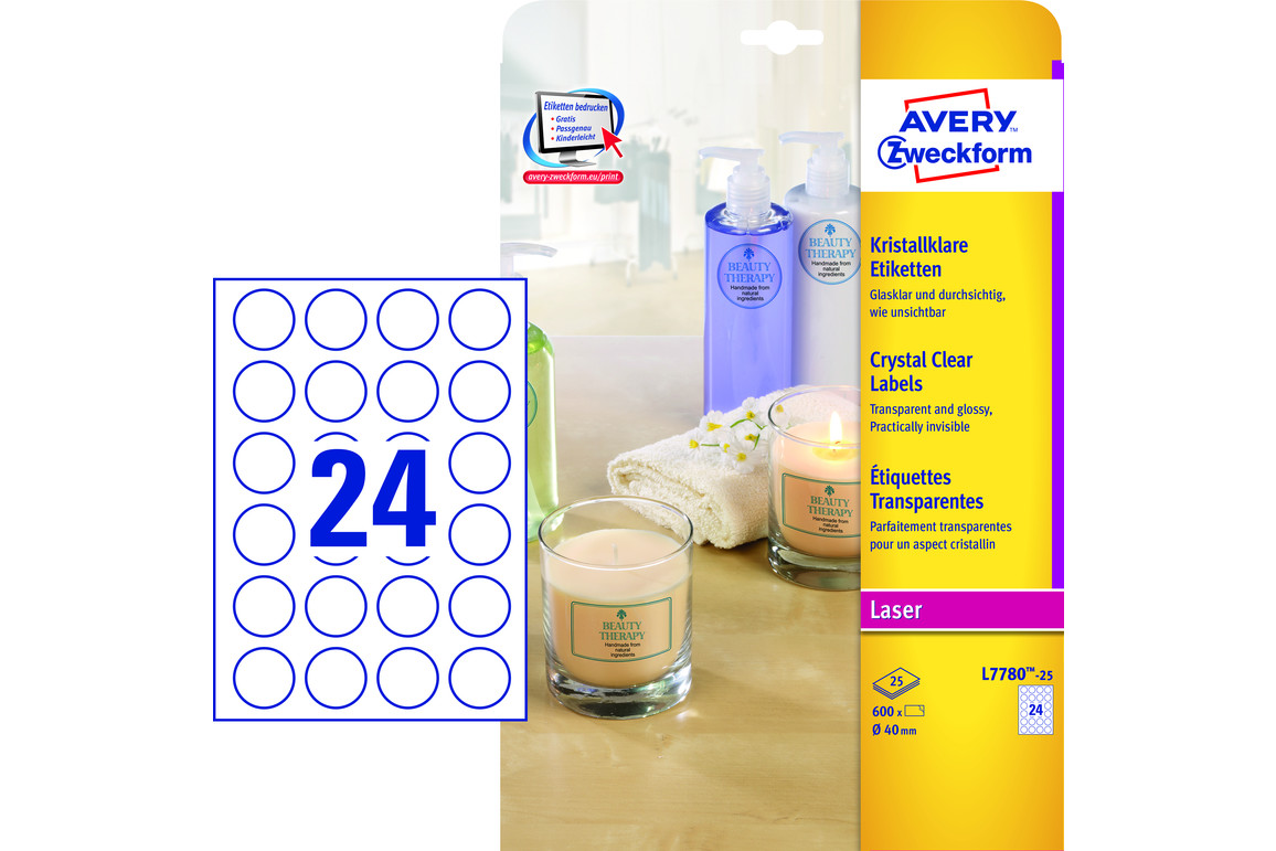 Etiketten ZWF 40 mm Crystal Clear, Art.-Nr. L7780-25ZWF - Paterno Shop