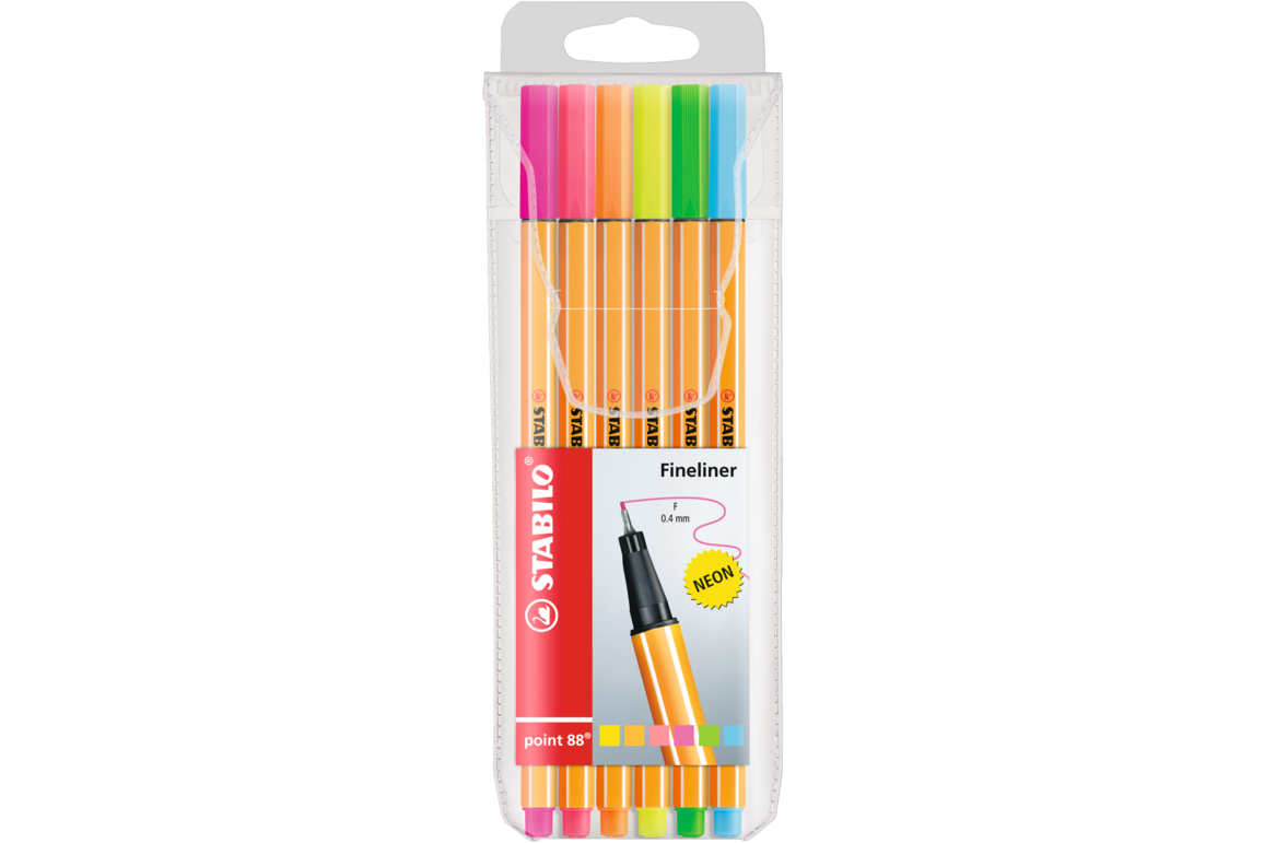 Fineliner Stabilo POINT 88 neon 6-er Etui, Art.-Nr. 88-6-1 - Paterno Shop
