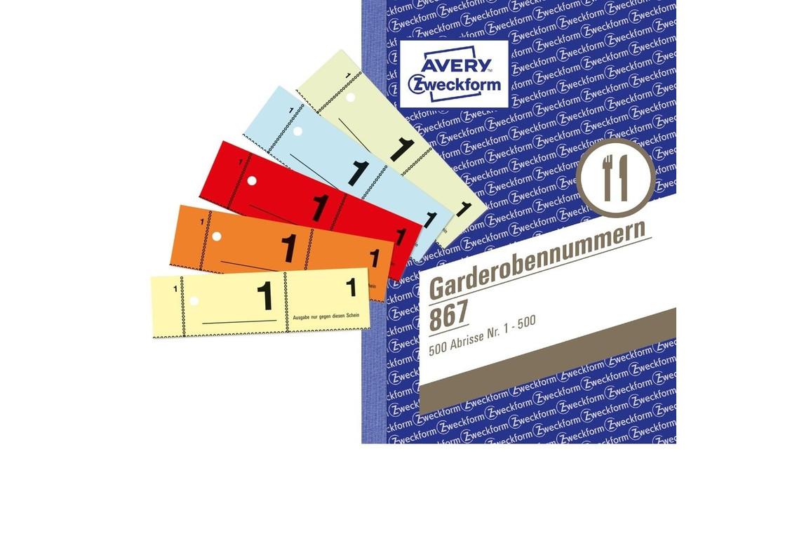 Nummernblock Garderobe A6 1-500 5farben, Art.-Nr. 867ZWF - Paterno Shop