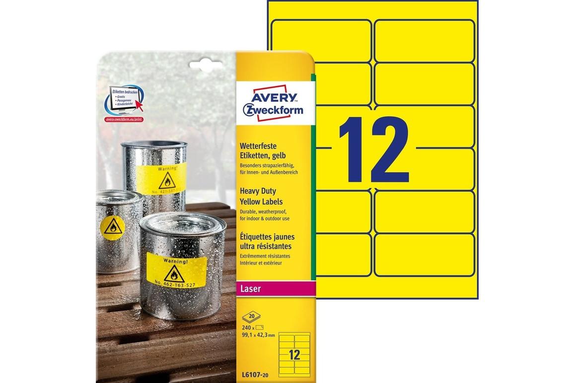 Etikett 99,1x42mm wetterfest gelb A4, Art.-Nr. L6107-20 - Paterno Shop