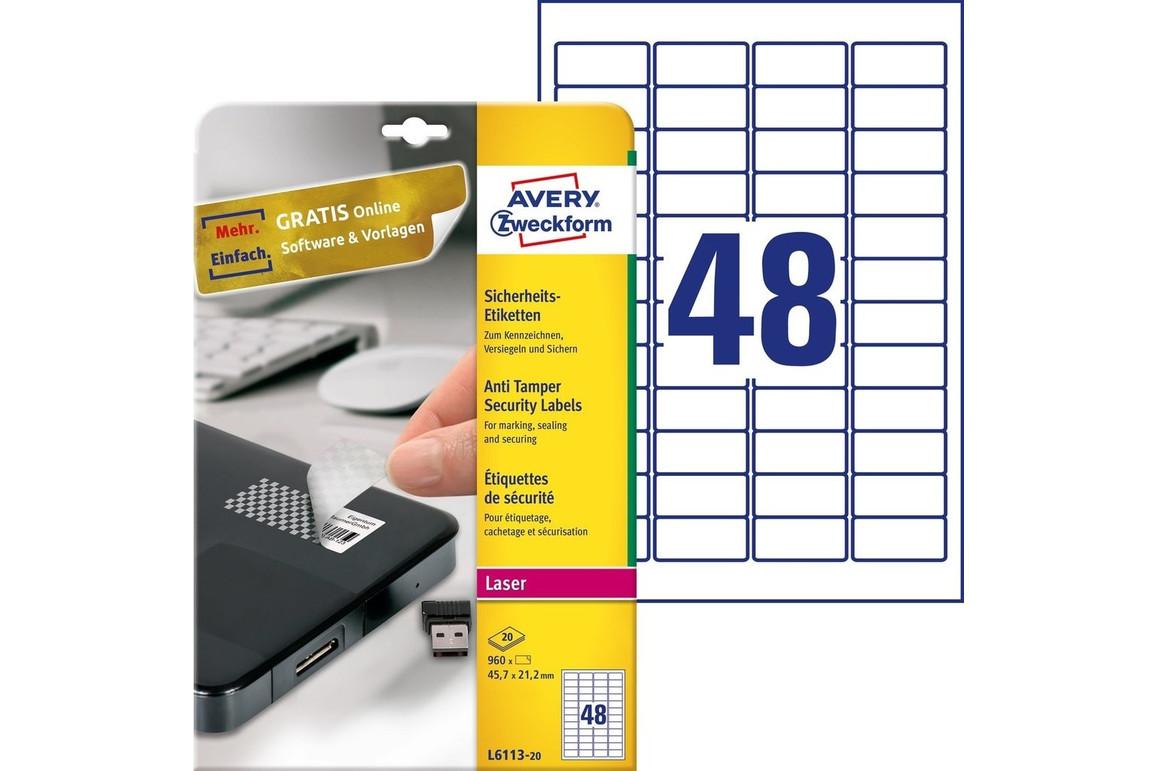 Sicherheitsetiketten ZWF 45,7 x 21,2 mm, Art.-Nr. L6113-20 - Paterno Shop